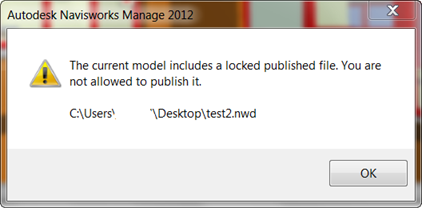 The Current Model includes a locked published file navisworks error
