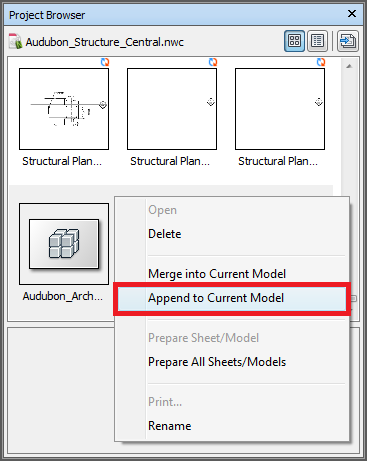 Navisworks Project Browser - Append to Current Model