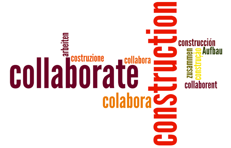 construction, collaboration language wordmap