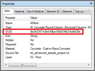 Navisworks Properties - GUID on item in NWC file