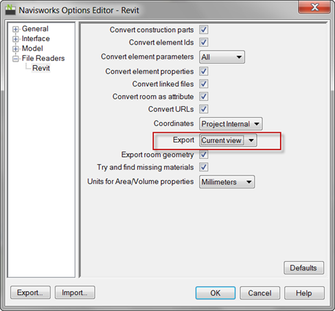Navisworks Revit Export Options Current View