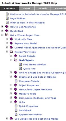 navisworks online help contents