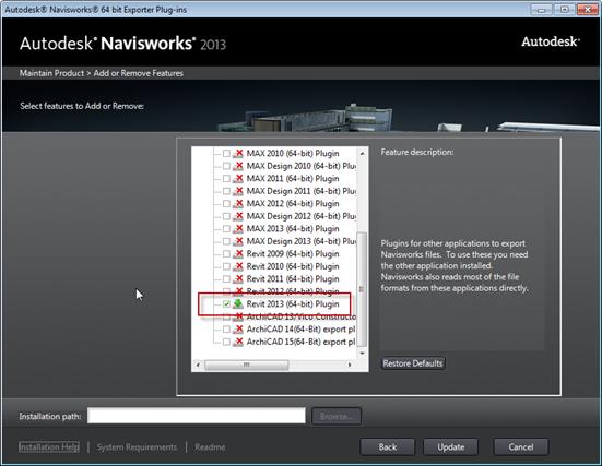 Navisworks Exporters Revit 2013 installation