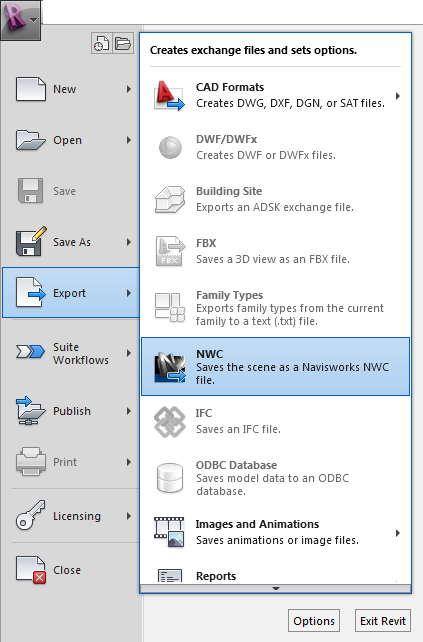 Revit 2013 navisworks NWC export