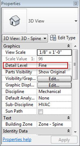 fine medium detail revit 3d view