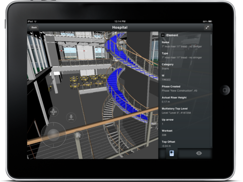 Review BIM object data Autodesk BIM 360 Glue mobile app iPad