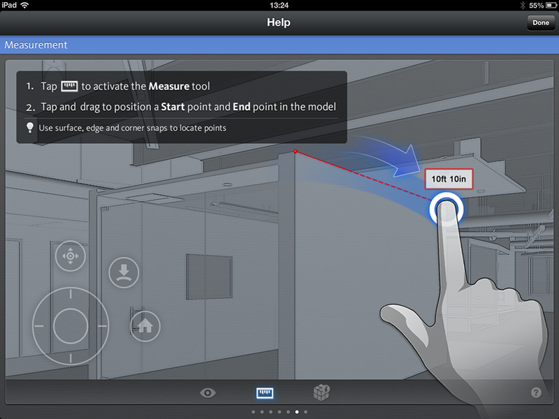 Measurement BIM 360 Glue mobile ipad app measure help