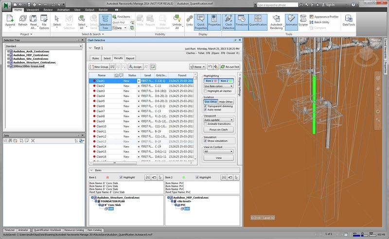Autodesk Navisworks 2014 clash results highlighting