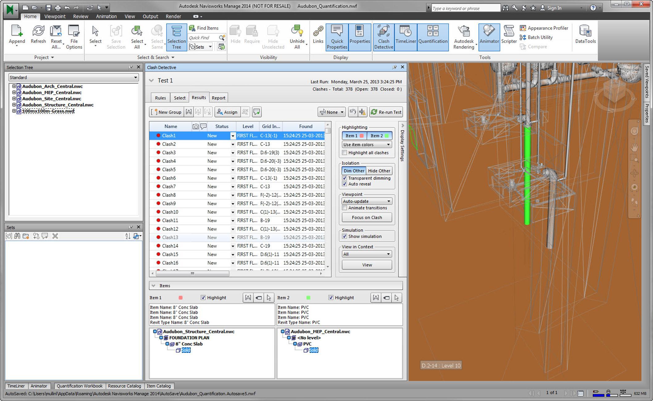 autodesk navisworks 2014 clash results highlighting