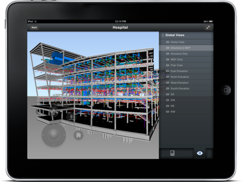 Navigate project models via views Autodesk BIM 360 Glue Mobile iPad app