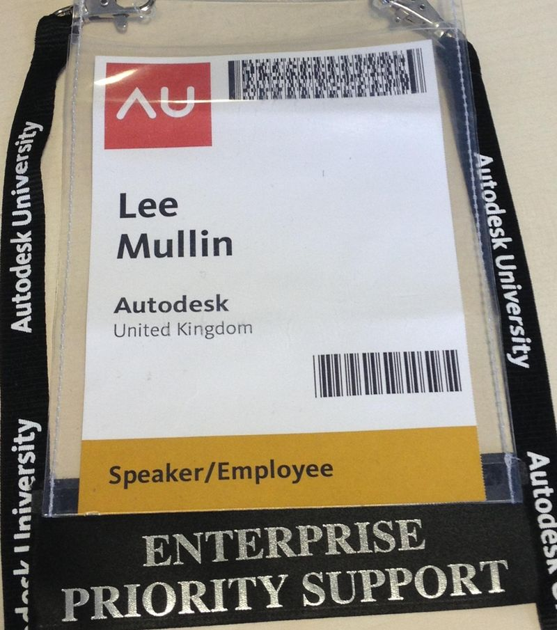 Lee Mullin AU2012 Autodesk University pass speaker employee enterprise priority support