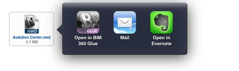 Open from email BIM 360 Glue Autodesk ipad mobile app