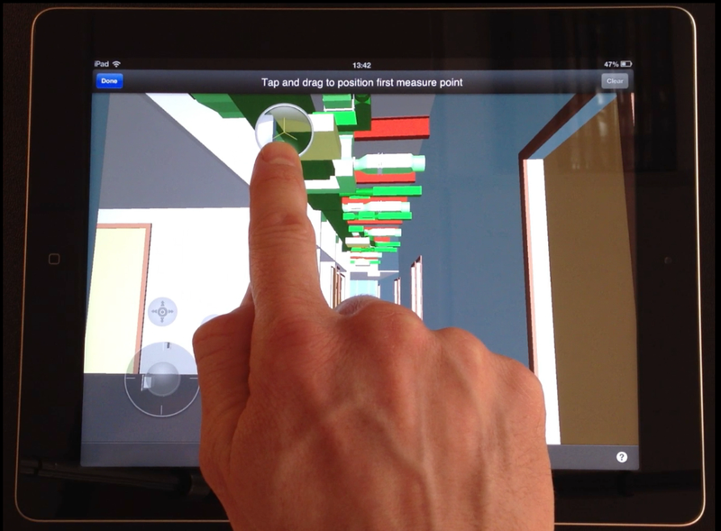 BIM 360 Glue mobile app - Point to point measure with magnifying glass