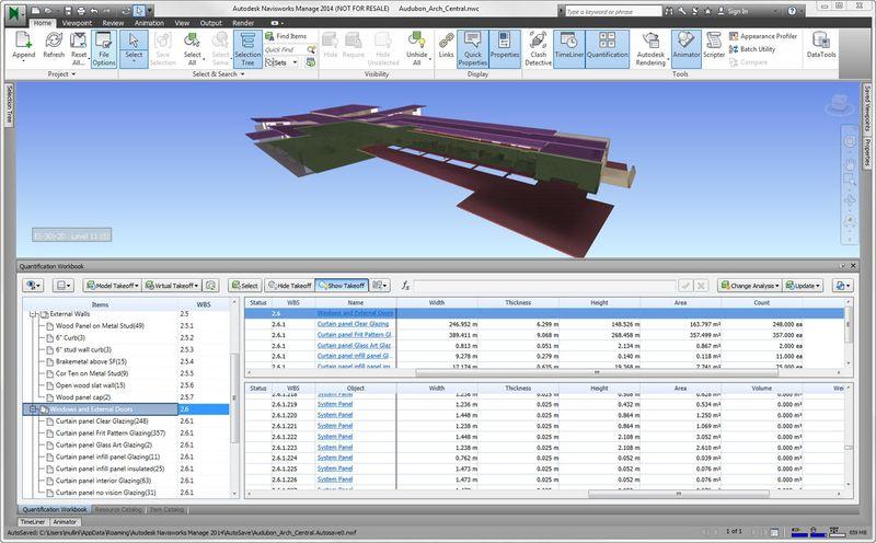 Quantification autodesk navisworks 2014 5d BIM