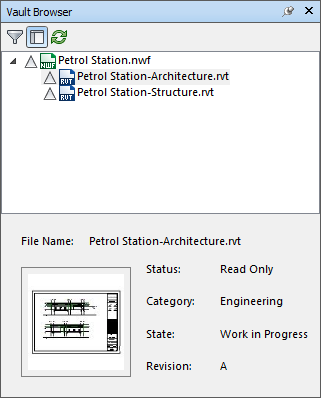 Vault browser in Navisworks showing details