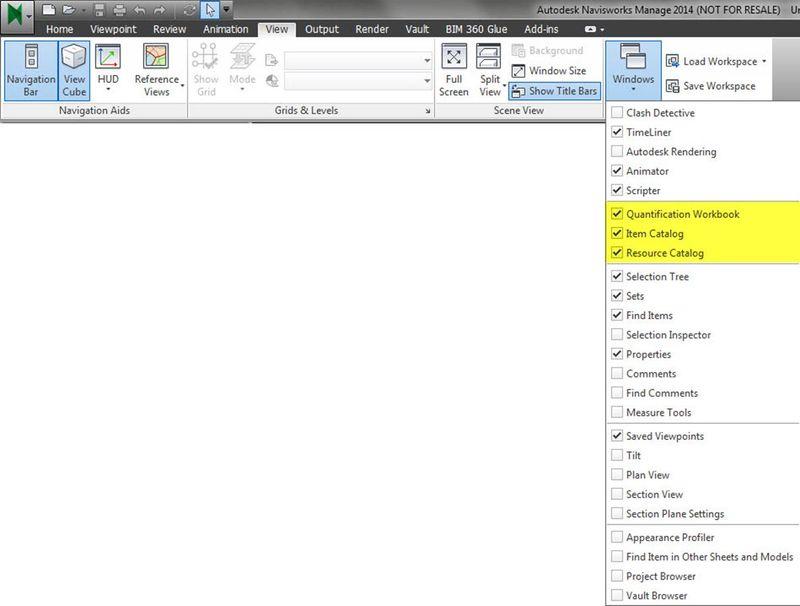 Autodesk Navisworks Quantification workspaces windows