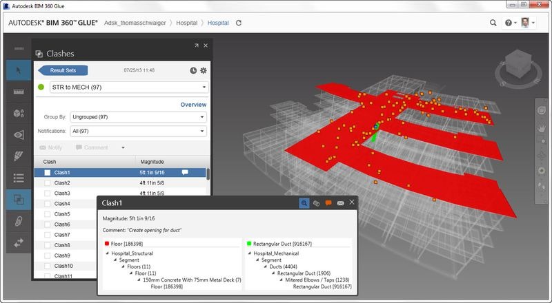 Autodesk BIM 360 Glue all clashes at a glance