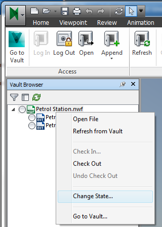 Vault browser in Navisworks showing relationship and status