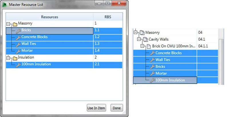 Autodesk Navisworks Quantification master resource list item