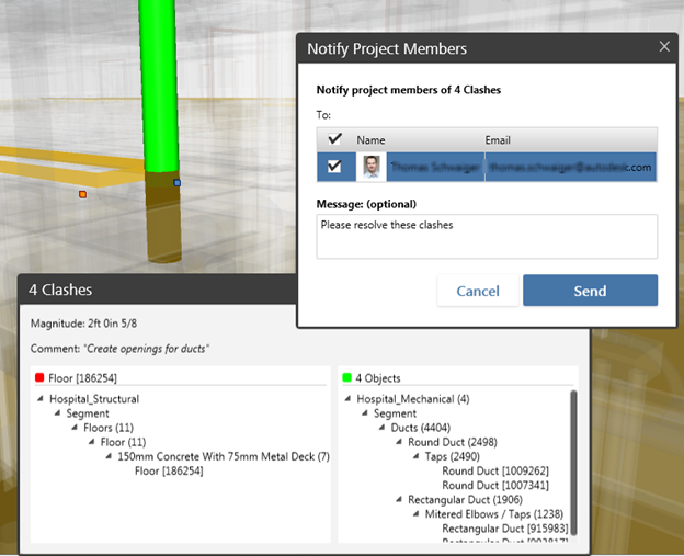 Autodesk BIM 360 Glue clash notification