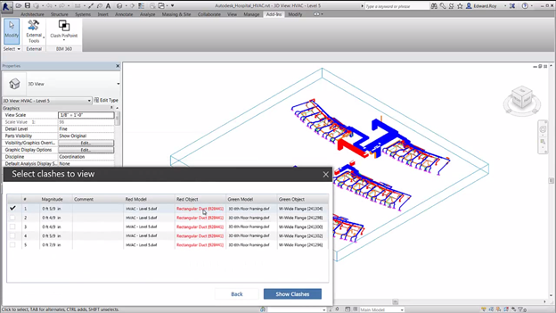 Autodesk BIM 360 Glue clash reports directly inside Autodesk Revit