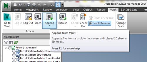 Append from Vault through ribbon UI in Navisworks