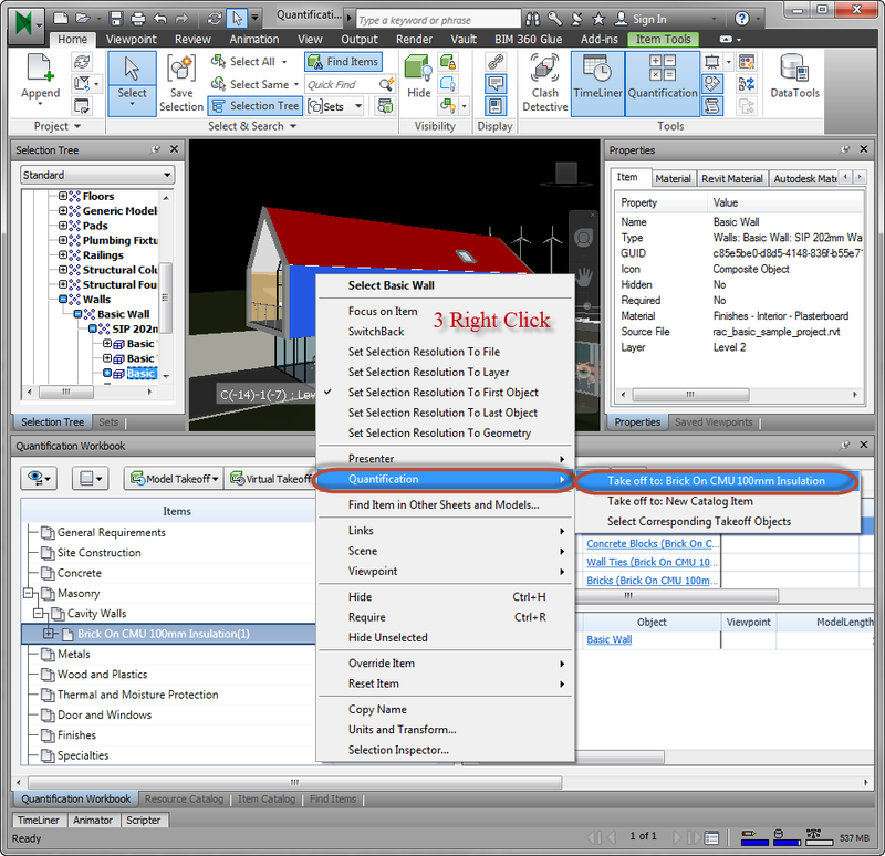 model takeoff quantification navisworks right click context menu