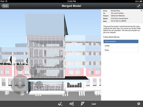 Reviewer Message in BIM 360 Glue iPad app